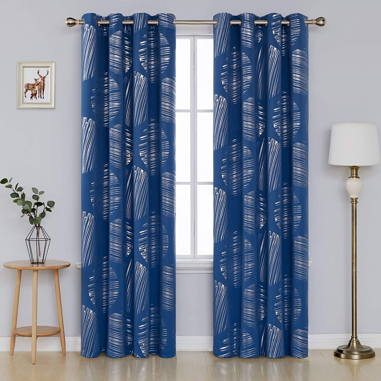 Deconovo Home Decor Foil Print Blackout Curtains with Grommets Thermal Insulated Drapes for Sliding Glass Doors 52 x 84 Inch Dark Blue 2 Panels