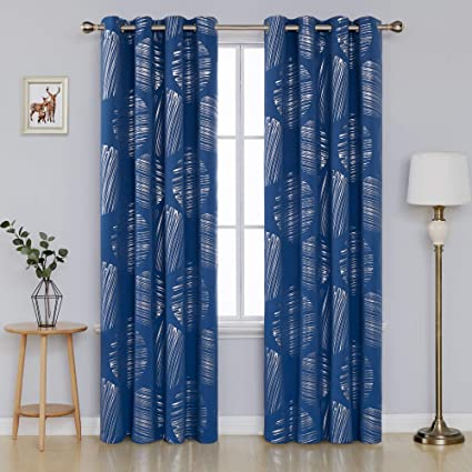 Amazon Deconovo Home Decor Foil Print Blackout Curtains With Grommets Thermal Insulated Drapes For Sliding Glass Doors 52 X 84 Inch Dark Blue 2 Panels