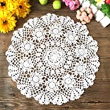 Elesa Miracle 16 Inch 4pc Handmade Round Crochet Cotton Lace Table Placemats Doilies Value Pack, Flower, Beige/White…