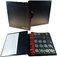 Album pour 186 monnaies (classeur M). 10 feuilles, Mix pochettes 27mm x 27mm, 35mm x 40mm, 46mm x 50mm, 68mm x 72mm. Idéal pour les pièces de différentes diamètre. Avec étui de protection