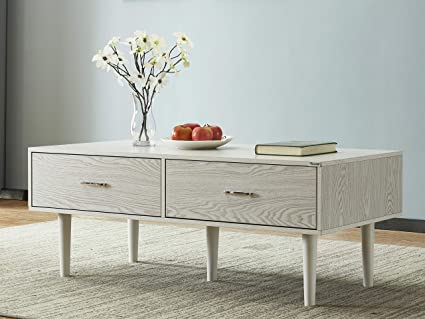 Coffee Table With Storage Cubes.Mixcept Wooden Coffee Table 47 Rectangular Cocktail Table With Drawers Storage Cubes Entertainment Center With Solid Wood Legs For Living Room