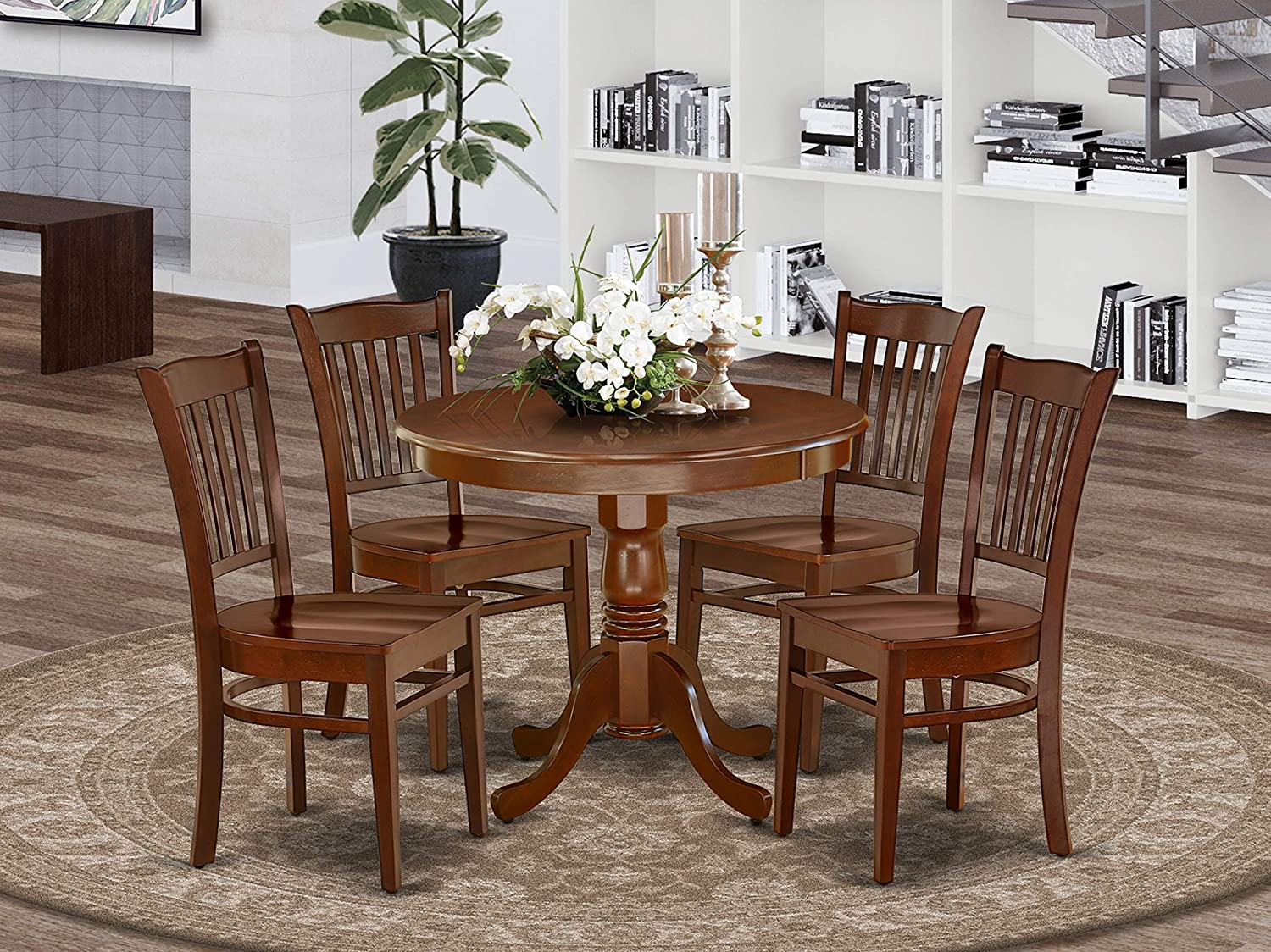 Amazon Com East West Furniture Modern Dining Table Set 4 Excellent Wooden Dining Room Chairs A Stunning Pedestal Dining Table Wooden Seat And Mahogany Wood Kitchen Table Furniture Decor