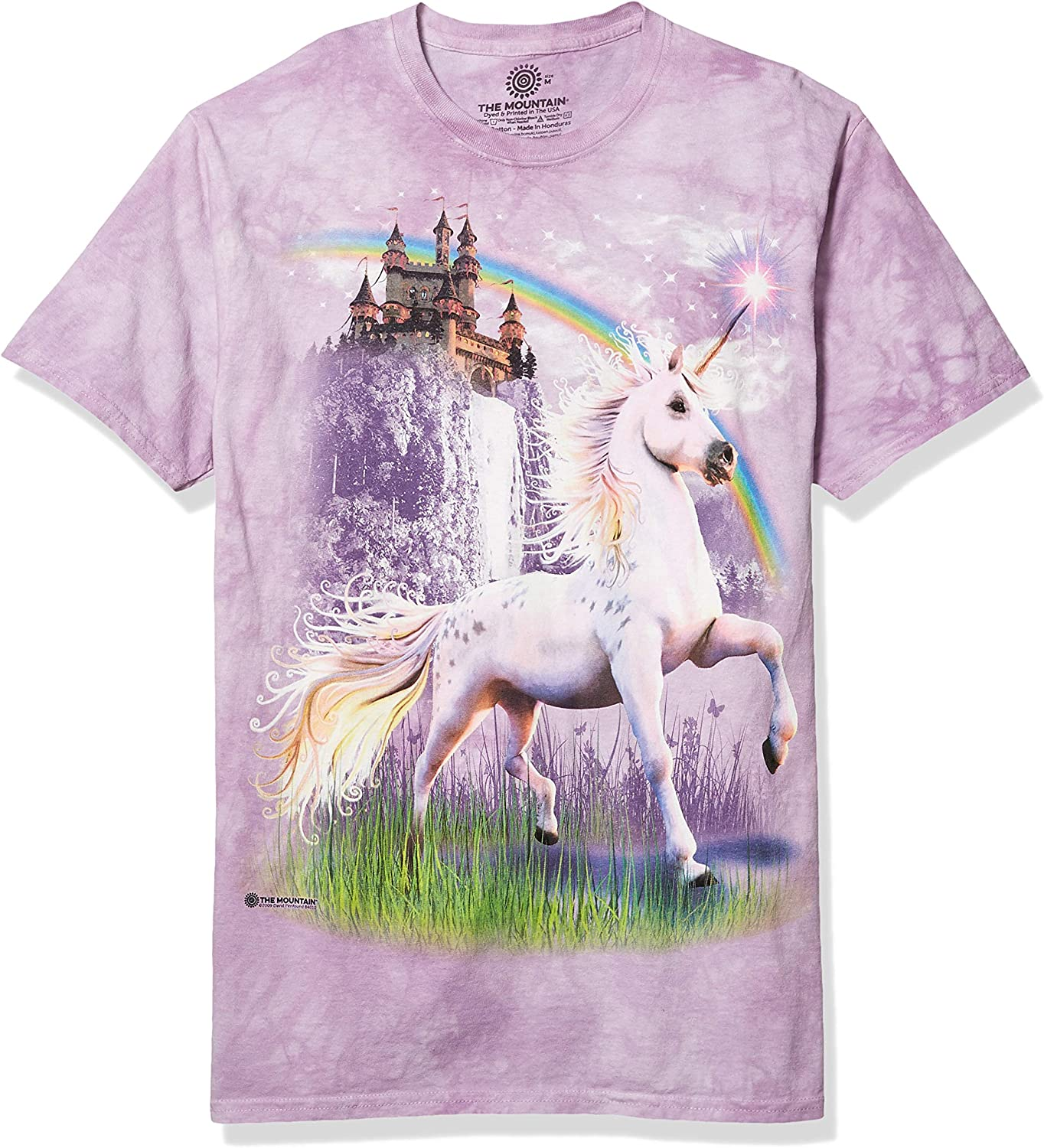 The Mountain 100/% Cotton Kid/'s T-Shirt Double Rainbow Unicorn NWT