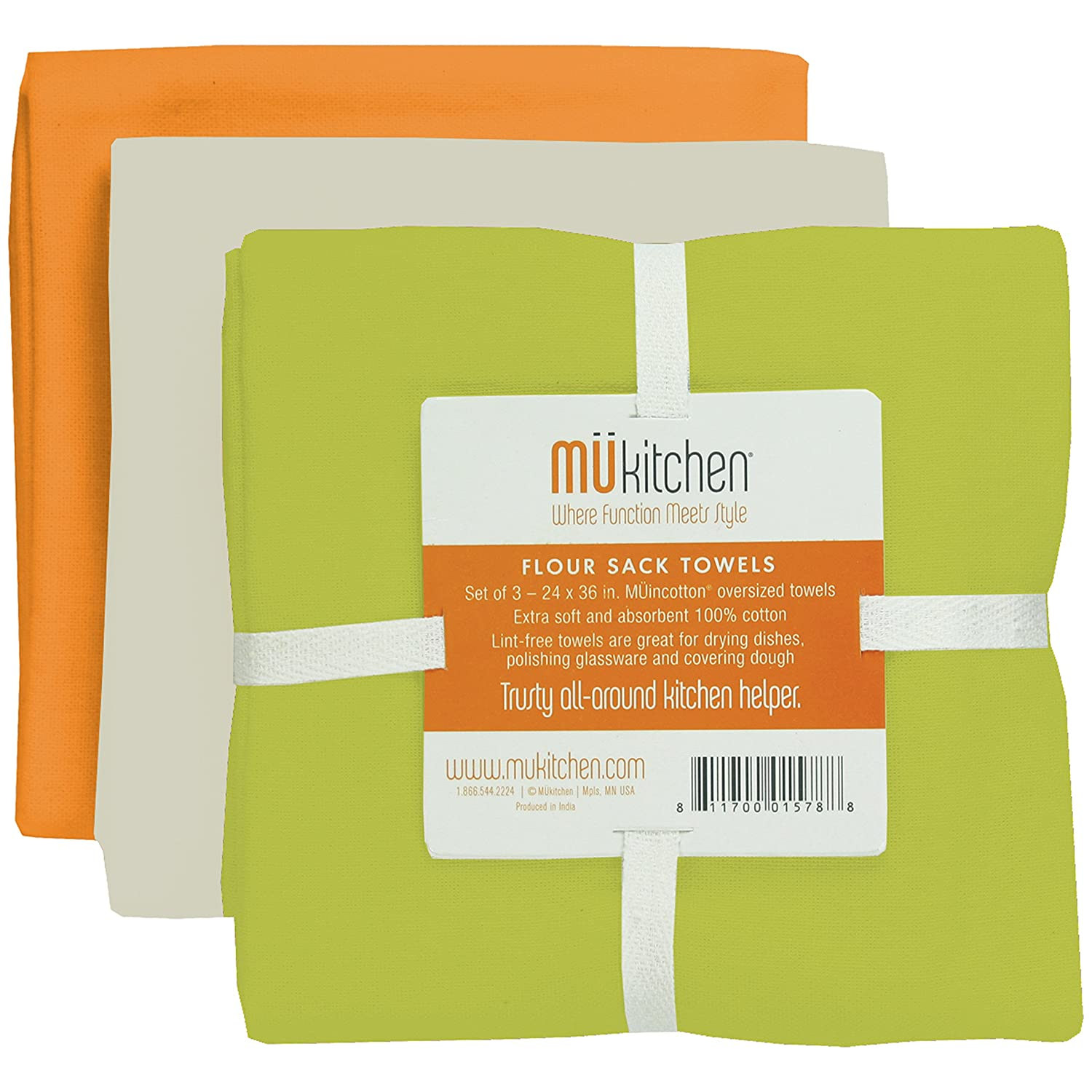 MUkitchen Flour Sack Towel, 24 by 36-Inches, Set of 3, Meadow 6603-1674