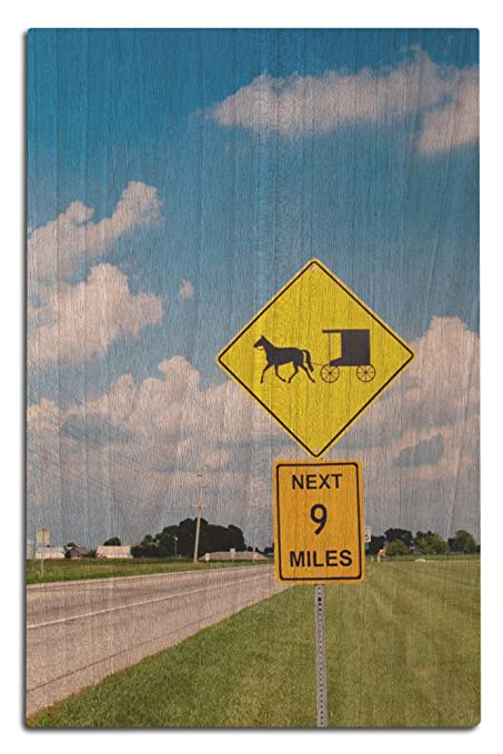 Amazon Com Lantern Press Amish Yield Street Sign 12x18 Wood Wall