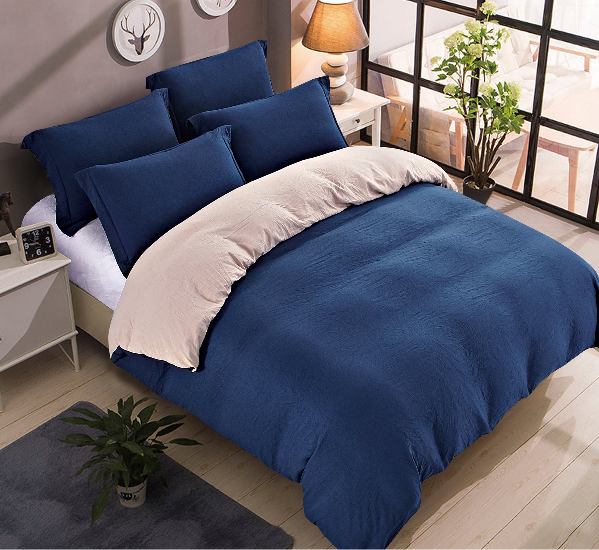 Delbou Tree Ultra Soft Microfiber Duvet Cover Set,Stone-Washed Duvet Cover Set,2 Tone Reversible Quilt Cover,Zipper Closure,Duvet Cover Set Twin in Blue and Beige 68 by 90 inch,CLEARANCE