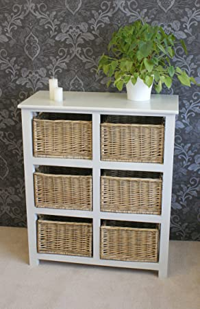 Gloucester Large 6 Willow Basket Drawer Storage Unit Chest In Pearl White  Painted Finish