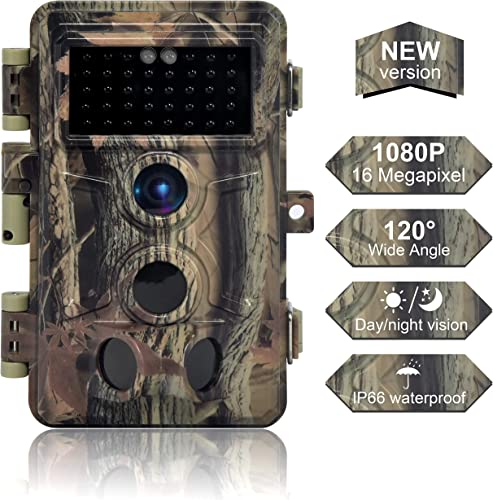 DIGITNOW Trail Camera 16MP 1080P, Game Camera with No Glow LED Infrared Night Vision Up to 65Ft, Waterproof Wildlife Hunting Cameras with 120 Wide Angle 0.2s Trigger Time
