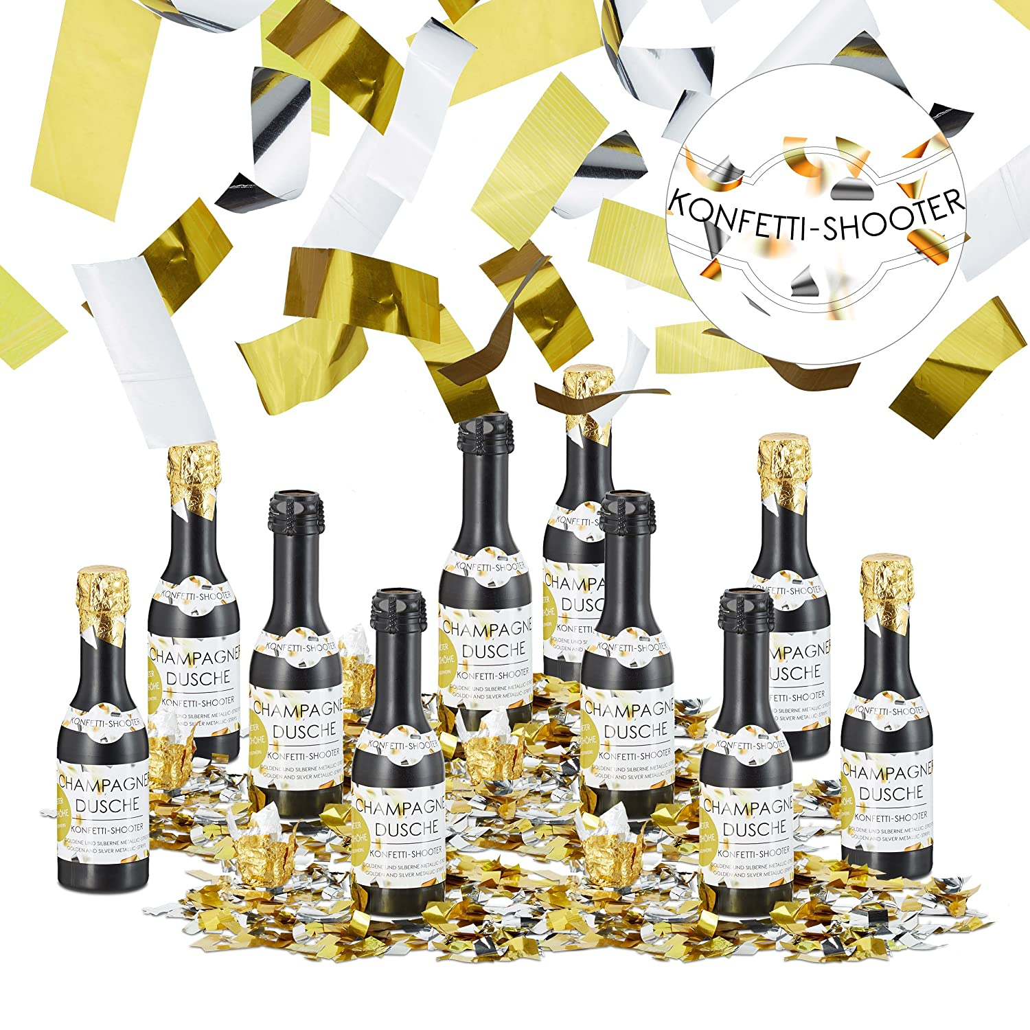 NEW RELAXDAYS PARTY POPPERS CONFETTI SHOOTER WEDDING BIRTHDAY GOLD SILVER