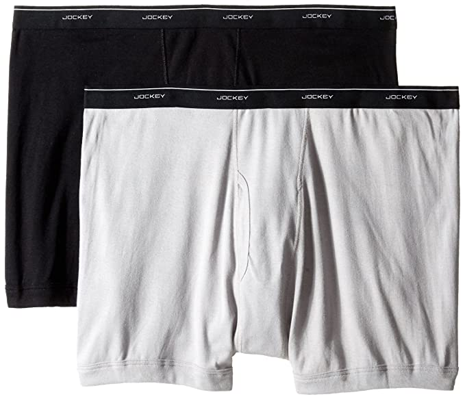 0f5650158c86 Jockey Men's Underwear Big Man Classic Boxer Brief - 2 Pack, grey/black,