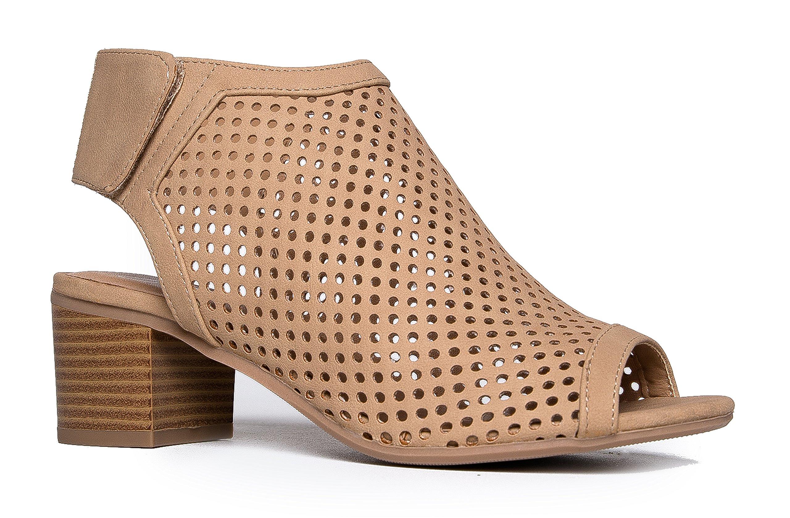 J. Adams Cut Out Velcro Strap Bootie - Slip On Low Stacked Heel - Open Peep Toe Cutout Shoe Maddie