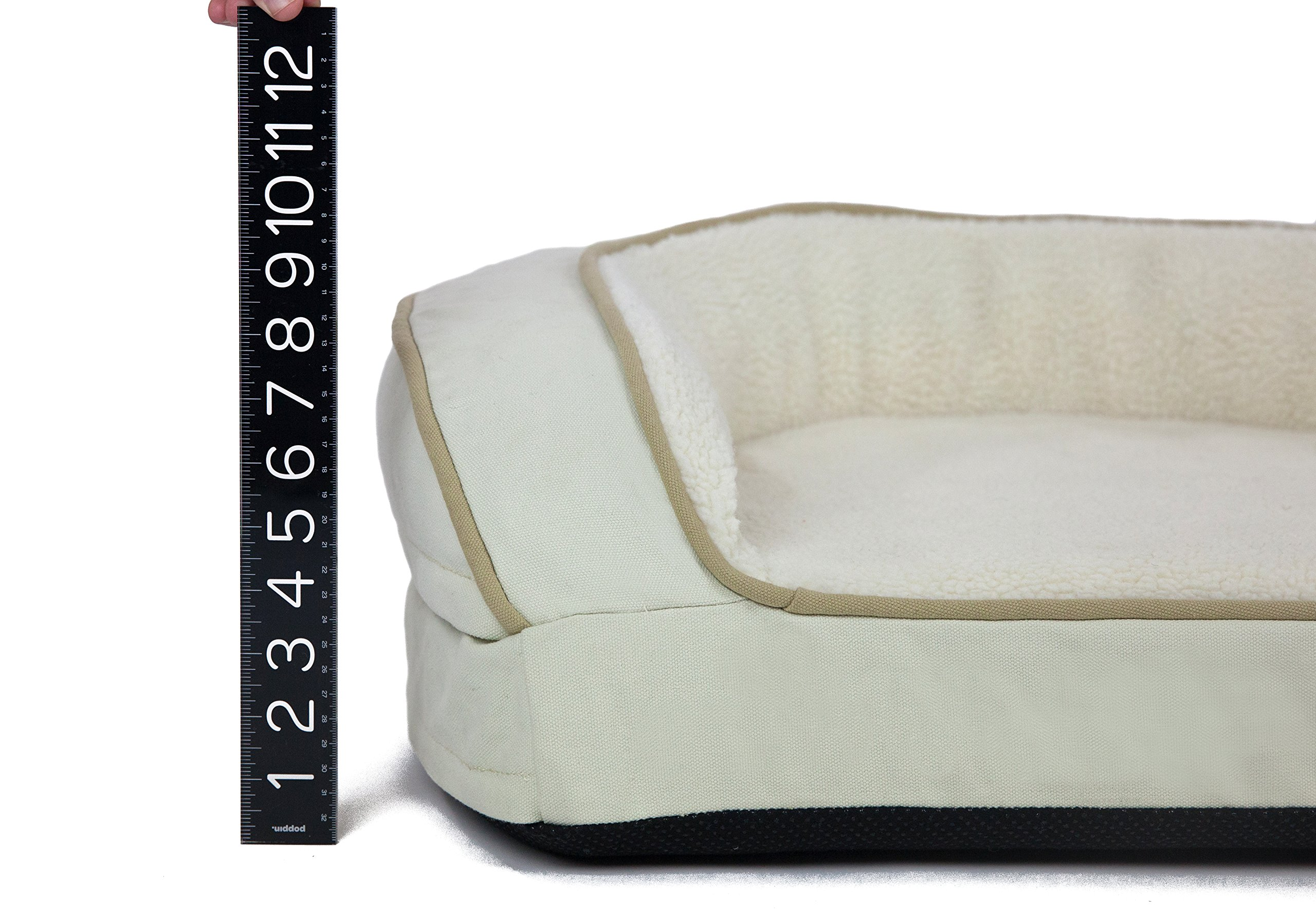 Better World Pets Super Comfort Bolster Dog Bed :: Waterproof Memory Foam Pet Bed with Durable Canvas Cover, Extra Plush Fleece + Foam Bolsters :: 4 Inch Thick, Washable, Small, White Sand by by Better World Pets (Image #8)