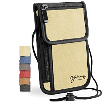e3a576f37cd8 Amazon.com   Passport Holder- by YOMO. RFID Safe. The Classic Neck Travel  Wallet. (Beige-Deluxe)   Passport Wallets