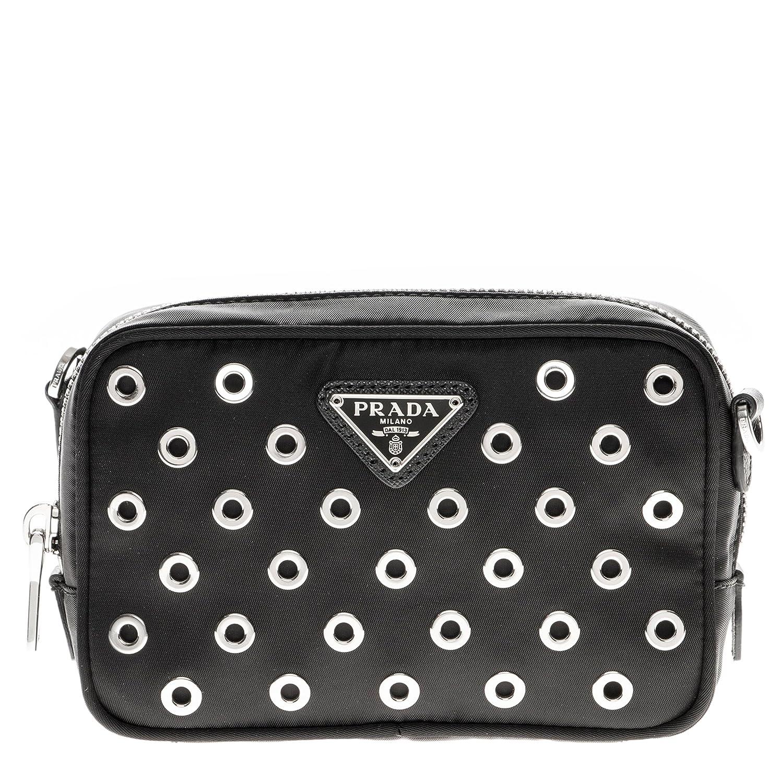 47c05914b7c07a ... where can i buy amazon prada womens tessuto vela grommet crossbody bag  clothing 47755 18e30
