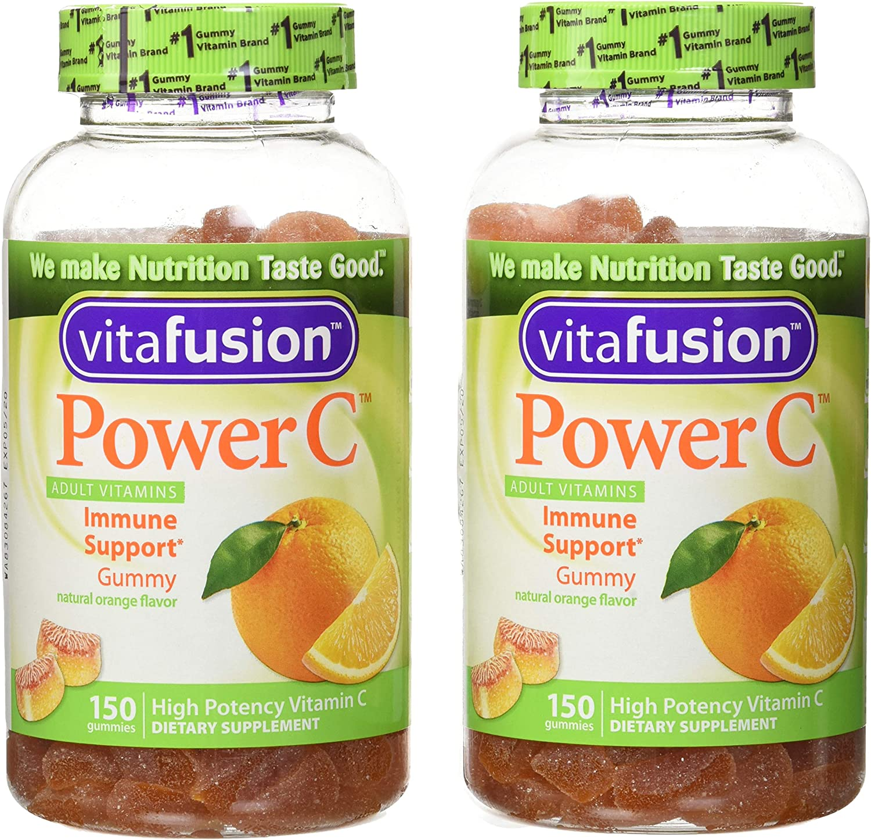 Vitafusion Power C Adult Vitamins Gummy, Immune Support, Natural Orange 150 ea (Pack of 2)