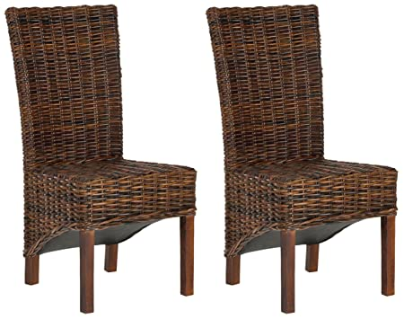 Safavieh FOX6523A-SET2 Home Collection Ridge Croco Color Dining Chair, Set of 2,