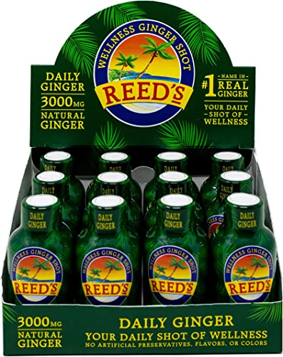 Reeds, Daily Ginger Shot, Great Tasting Wellness Ginger Shot for Immune Boosting Support 12-2oz Bottles