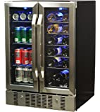 NewAir AWB-360DB 18 Bottle 60 Can Dual Zone Built-In Wine & Beverage Cooler, Stainless Steel/Black
