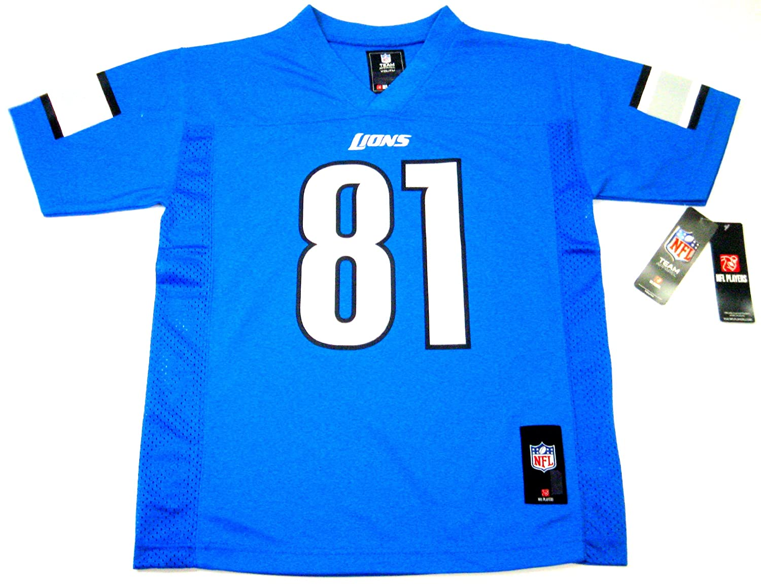964d3b62c Amazon.com   Calvin Johnson Detroit Lions NFL Football Youth Size Jersey  Team Colors Blue (Youth Extra Large (Size 18-20))   Sports Fan T Shirts    Sports   ...