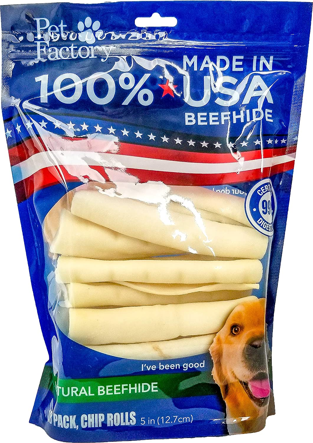 Pet Factory U.S.A. Beef Hide Chip Rolls Chews for Dogs (18 Pack), Small/5