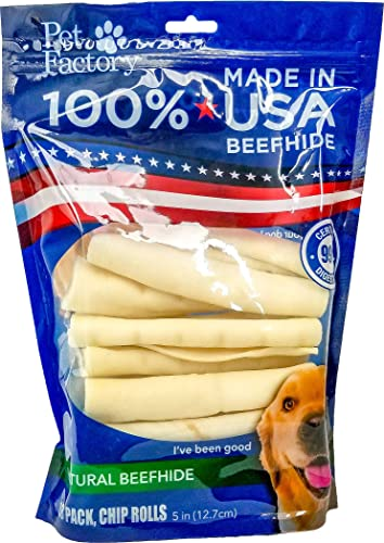 Pet Factory U.S.A. Beef Hide Chip Rolls Chews for Dogs 18 Pack , Small 5