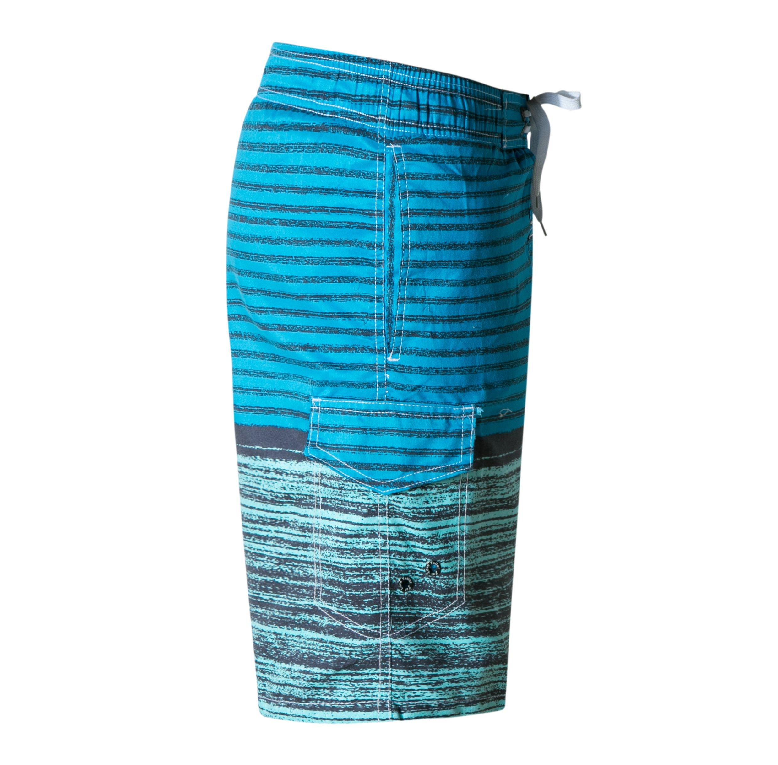 ZIITOP Men\'s Swim Trunks Quick Dry Water Beach Board Shorts Striped Sportwear Striped Sea Blue XXL