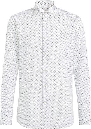 next Hombre Camisa Entallada Estampada De Cuello Alado Blanco ...
