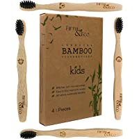 Eco-friendly, Natural Charcoal Bamboo Toothbrush for Kids | 4 pack