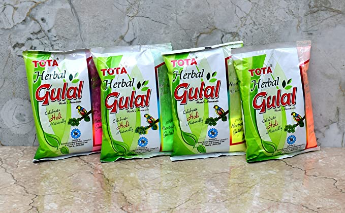 Tota Holi Herbal Colors Gulal Holi Rangoli Color Powder Pack of 4 (100  Grams Each)