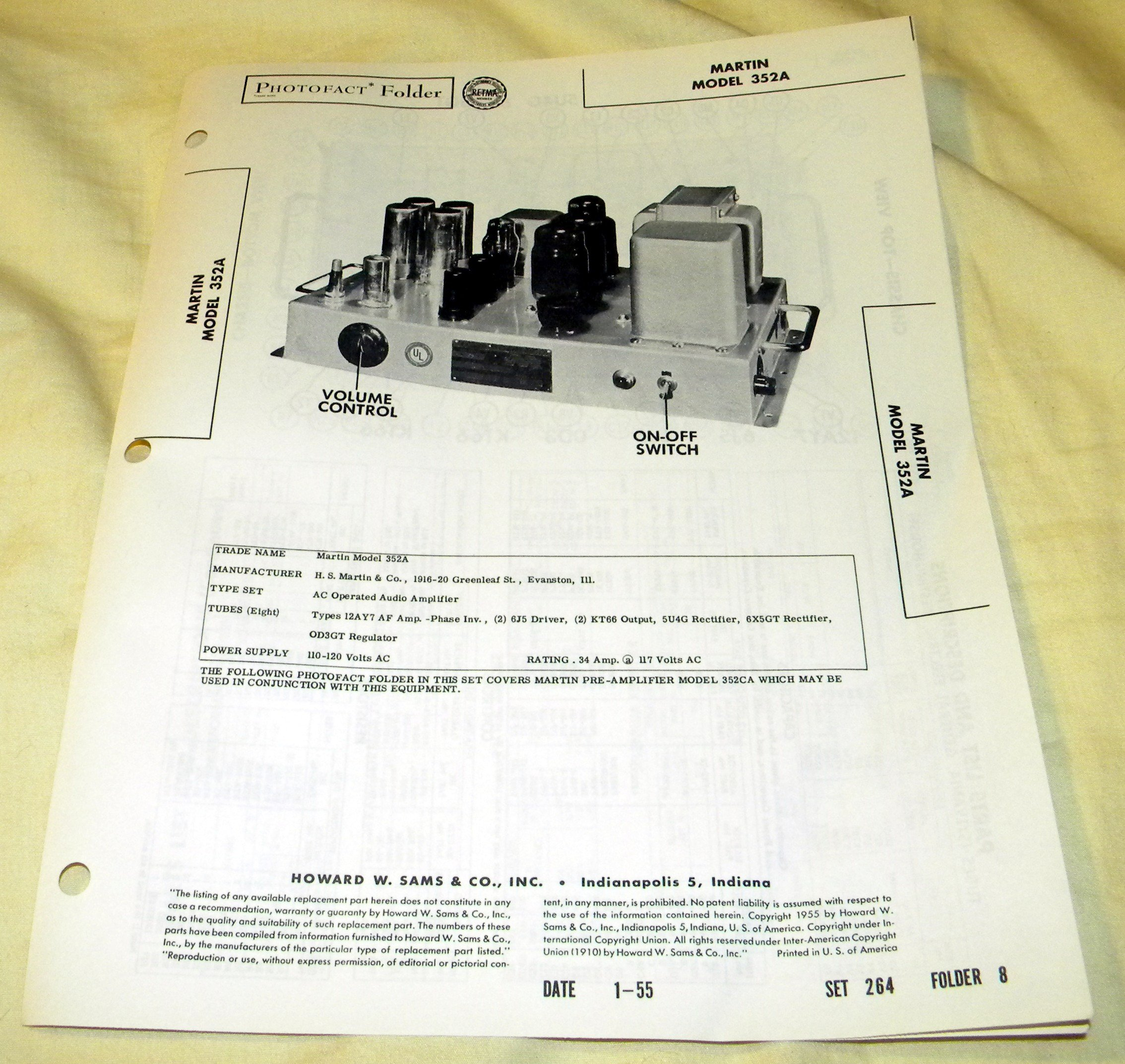 Martin AC Operated Audio Amplifier Model: 352A Schematic (Sams