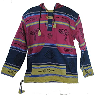 Fair Trade Mens Heavy Cotton Symbol Jumper Hooded Top From Nepal