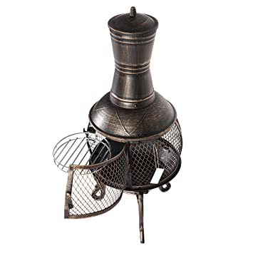 Mari Garden Aragon - Chimenea de hierro fundido, 93cm, brasero, calefactor