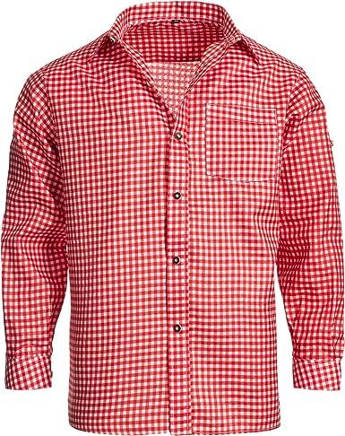 Gaudi Leathers Camisa de traje típico bávaro/tirolés para hombre con mangas remangables, de cuadros: Amazon.es: Ropa y accesorios