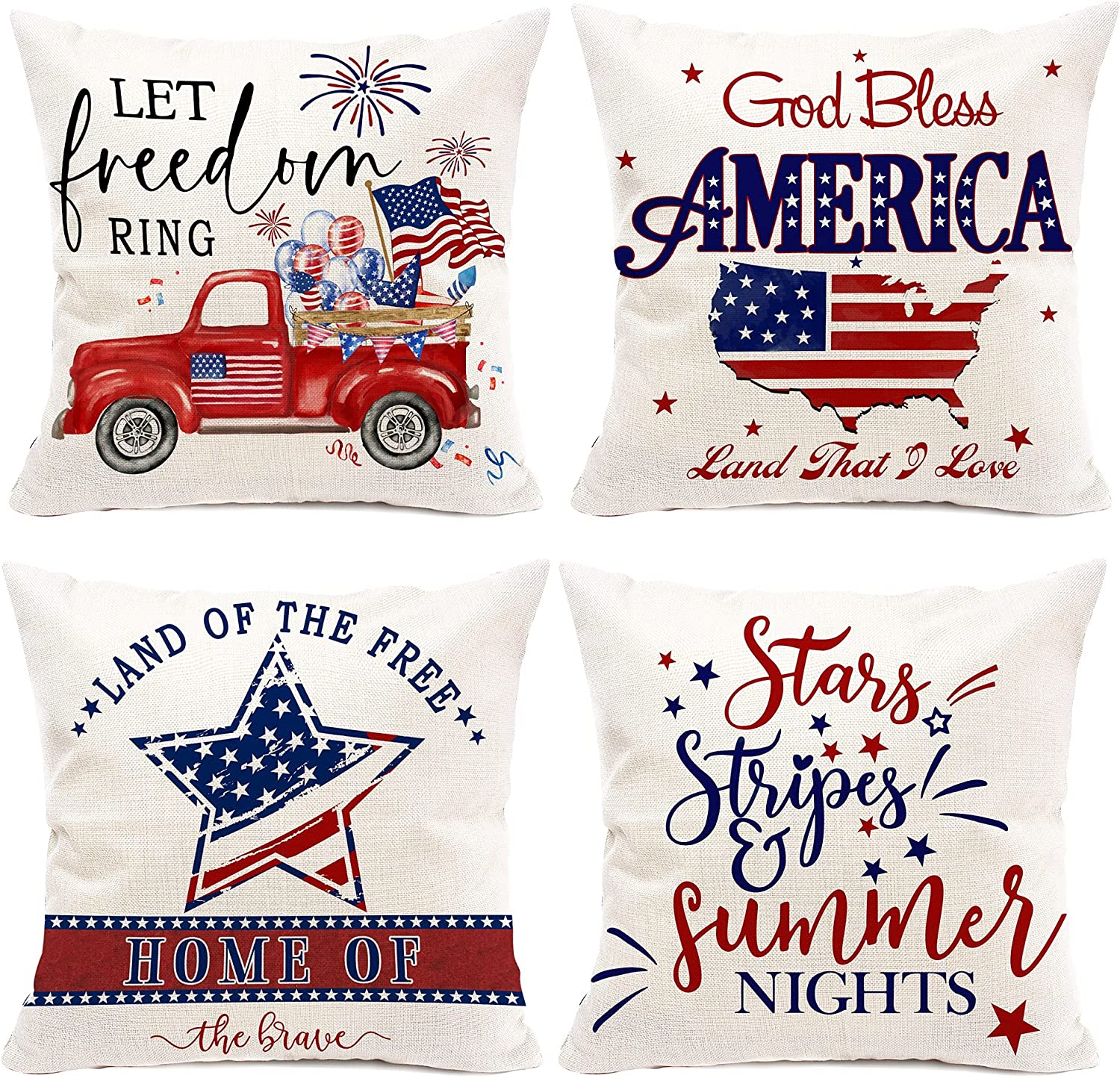 pinata 4th of July Decorations Patriotic Pillow Covers, Decorative Red Truck Throw Pillow Case Farmhouse Independence Day Square Cushion Cover for Sofa God Bless America Pillows 18x18 Inch Set of 4