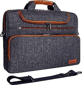 "DOMISO 13.3 Inch Multi-Functional Laptop Sleeve Business Briefcase Waterproof Messenger Shoulder Bag for 13""-13.3"" Laptops/MacBook Pro Retina/Dell XPS 13 / Surface Book/ASUS/Acer, Dark Grey"