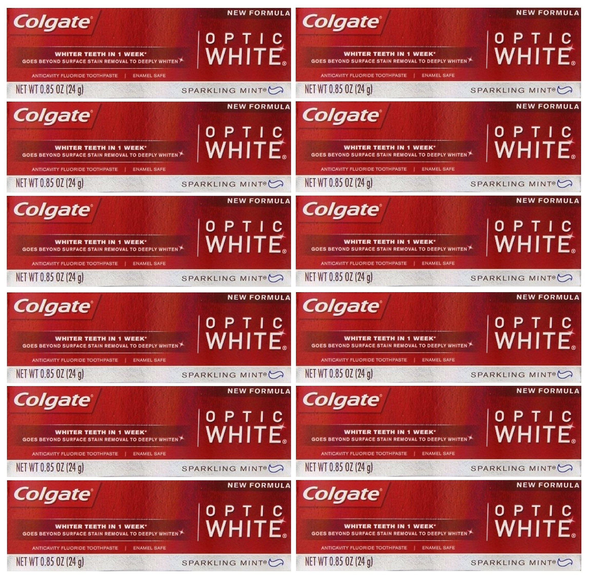 Colgate Optic White Teeth Whitening Toothpaste, Sparkling White, Sparkling Mint, Travel Size 0.85 Ounces - Pack of 12