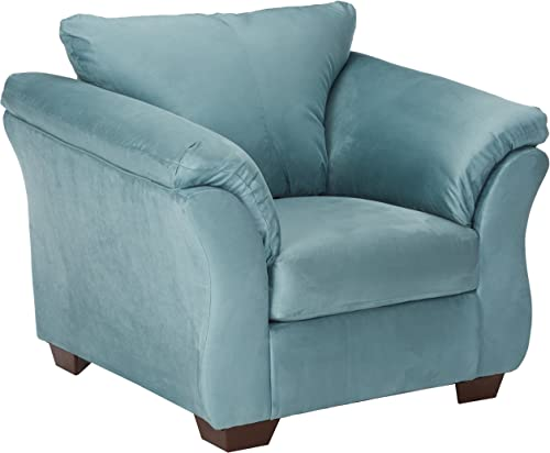 Signature Design by Ashley – Darcy Contemporary Ultra Soft Upholstery Chair w Loose Seat Cushion, Sky
