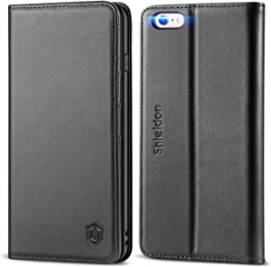 SHIELDON iPhone 6 Plus Case Genuine Leather Case Kickstand, Credit Card Slots, Magnetic Closure Compatible with iPhone 6 Plus / 6S Plus / 6+, Black