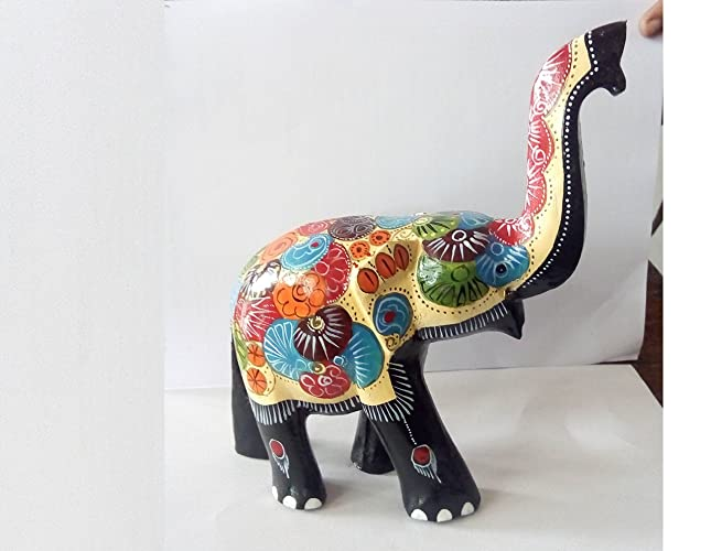 Amazon Real Natural Multicolored Wooden Lucky Elephant Trunk Up