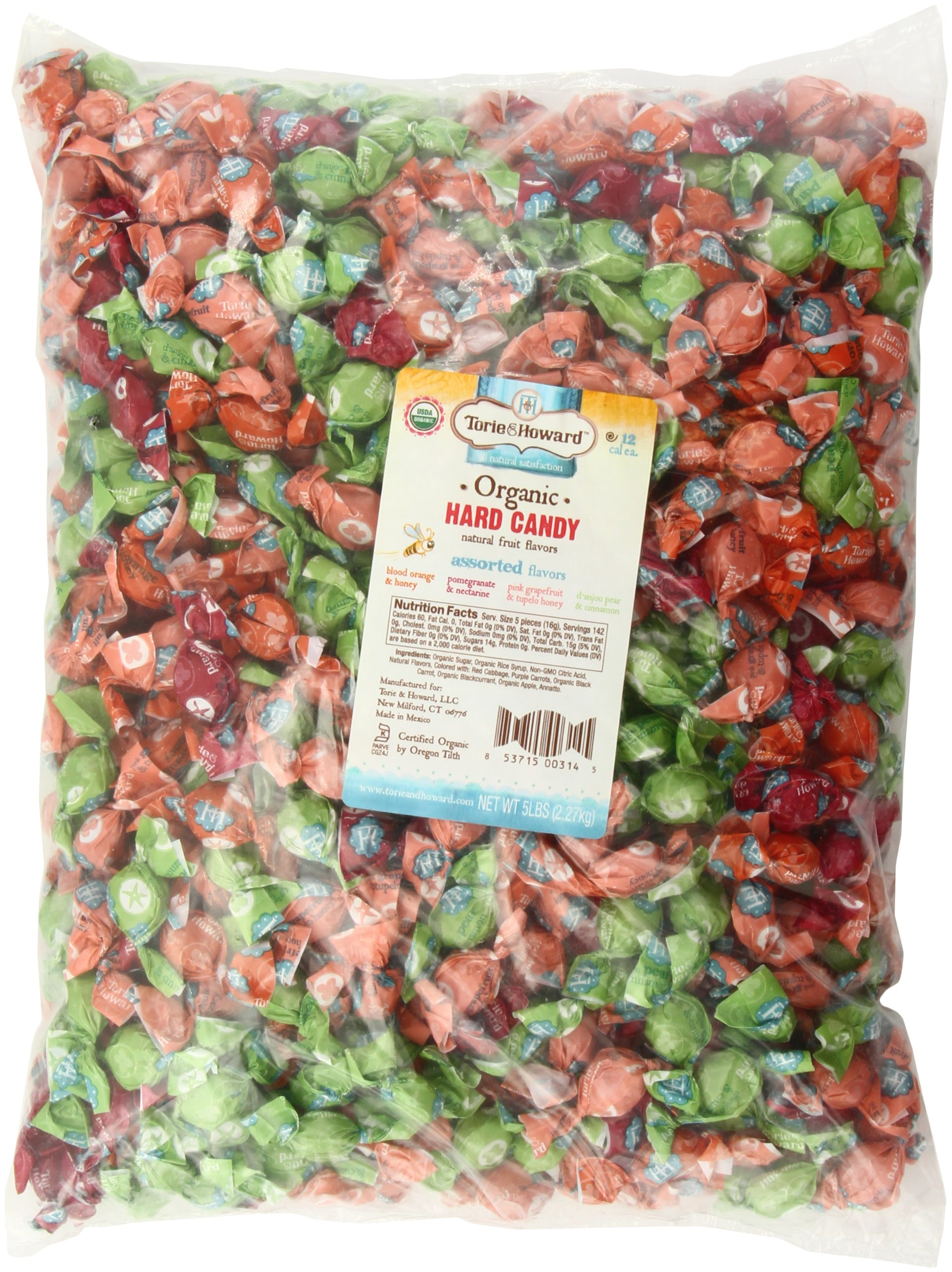 Torie and Howard Organic Hard Candy Bulk Candy, Five Assorted Flavors, 5 pound bag