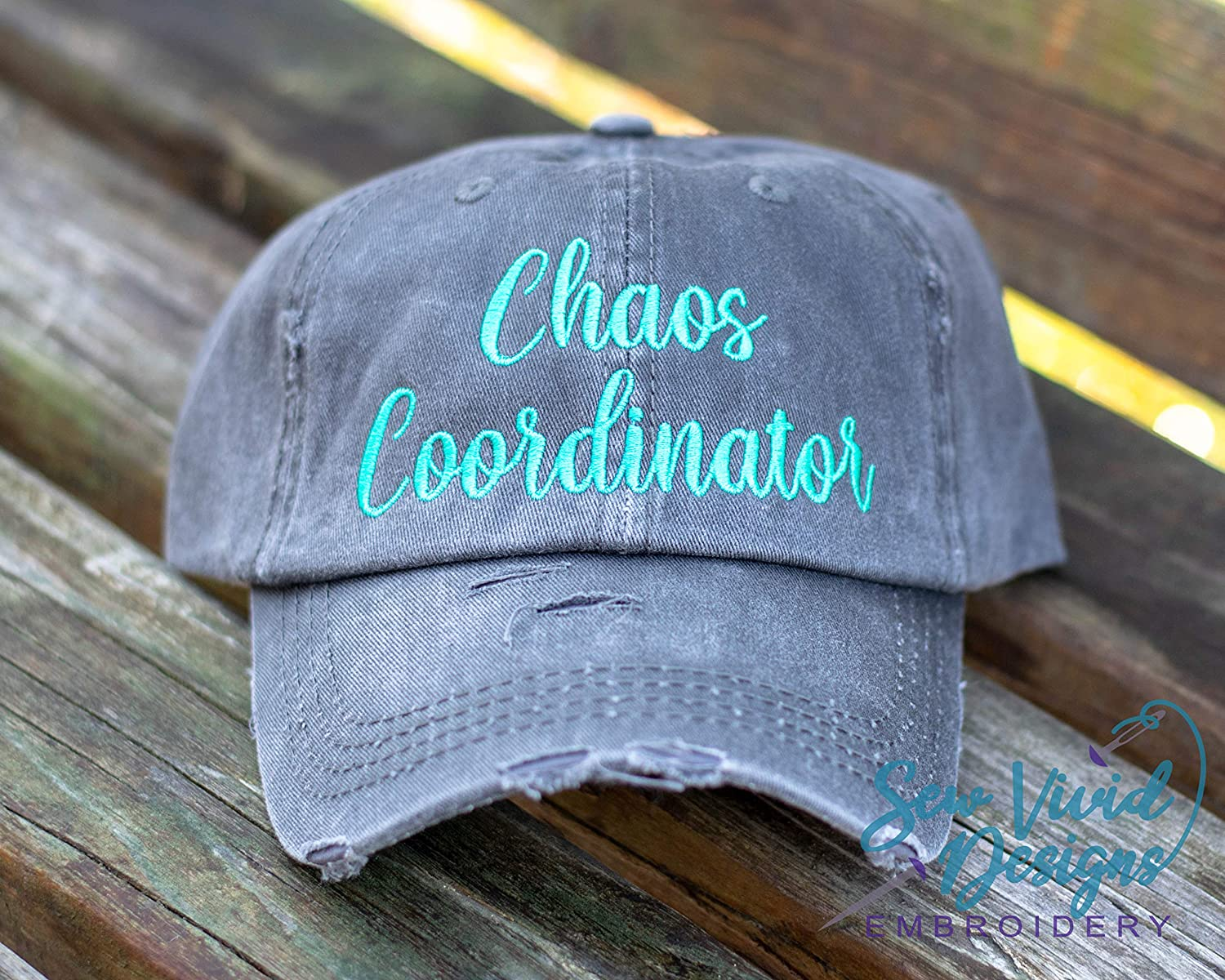 Chaos Coordinator Hat Distressed Baseball Cap OR Ponytail Hat Custom Embroidered Hats for Women