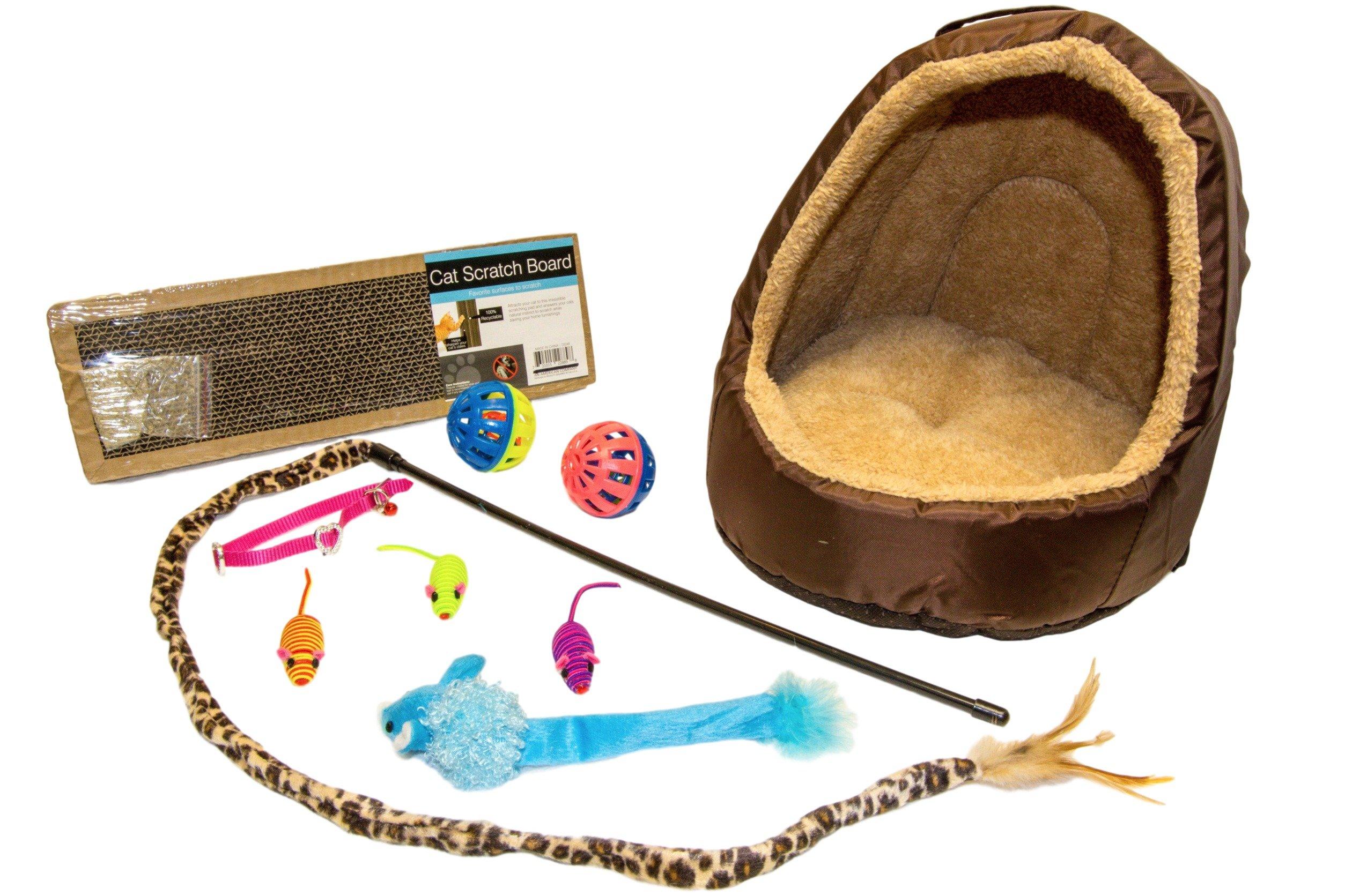 EMG Pet Emporium Pet House & Toy Bundle for Cats | Leopard Teaser | Blue Longtail Critter | 2 - Jumbo Play Balls | 3 - Rattle Mice | 5'' x 15'' Scratcher Pad | Collar | All Cats