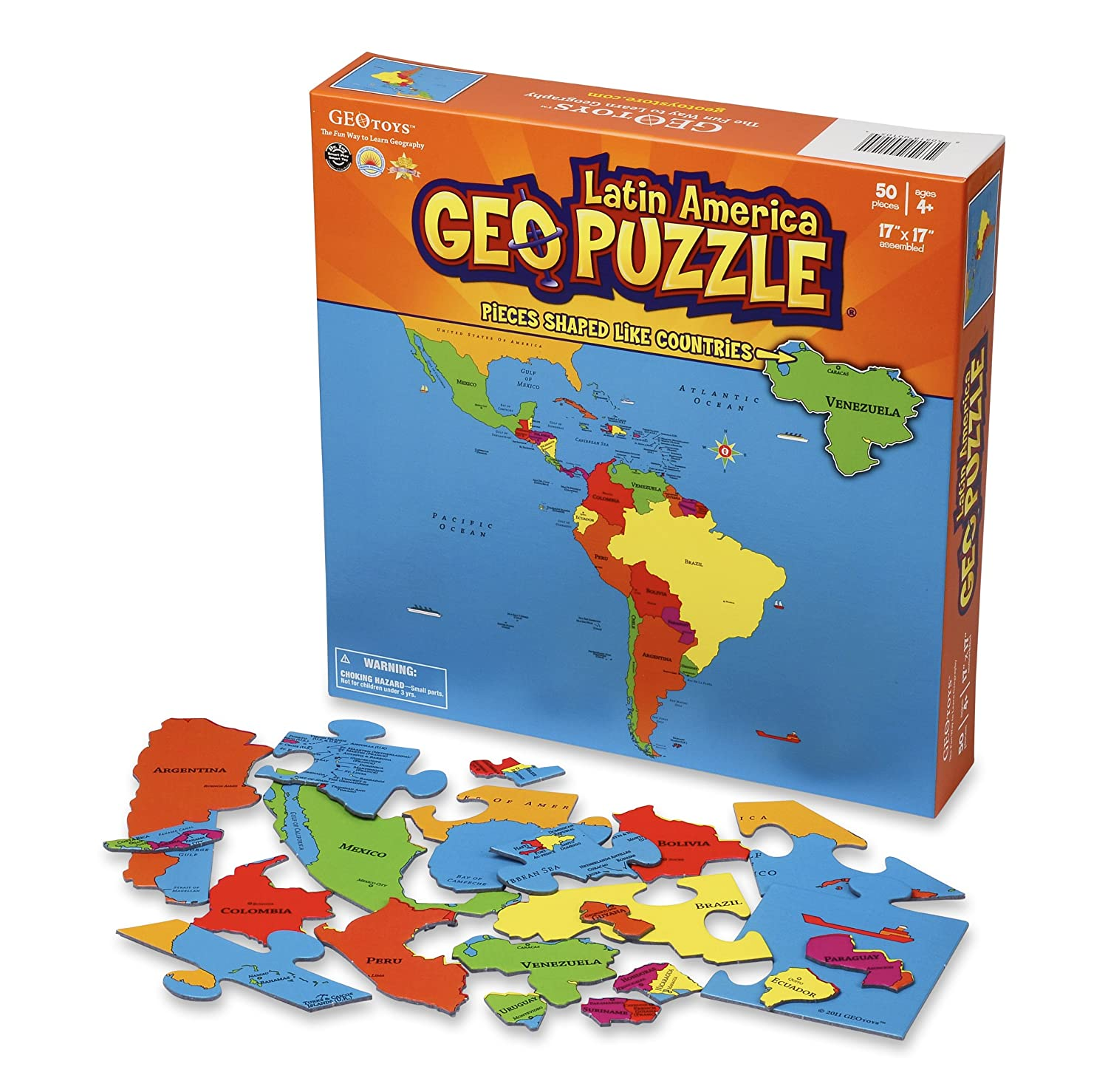 Amazon.com: GeoToys   Set Of 6 GeoPuzzles   World Map Puzzle U0026 Jigsaw Puzzle  To Learn Countries Of The World   Geography Game For Educational Fun: Toys  U0026 ...