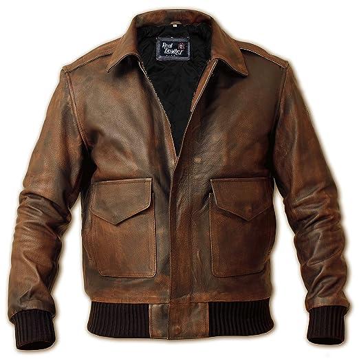 b71bcf32c16b10 Men s A-2 Aviator Jacket - Flight Bomber Distressed Brown Pilot Real  Leather Jacket -