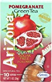 AriZona Pomegranate Green Tea Iced Tea Stix Sugar Free, 1-Ounce Boxes (Pack of 6)