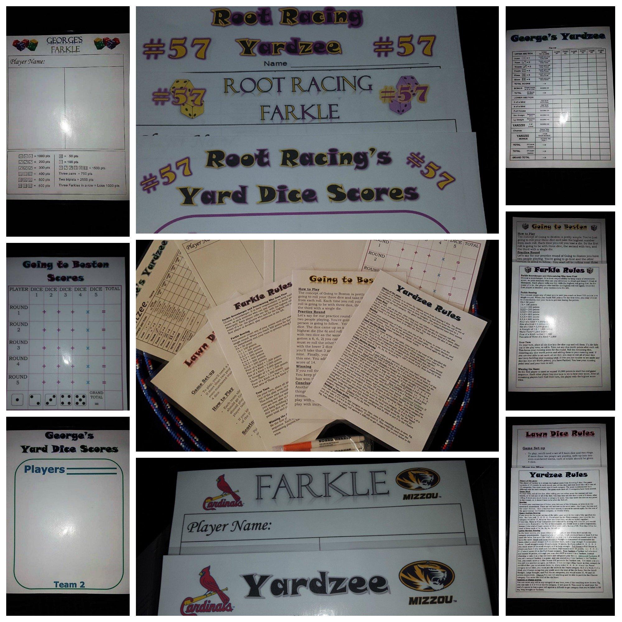 Deluxe Lawn dice, Yardzee, Farkle Hand made 3 1/2 dice Set of 8 dice