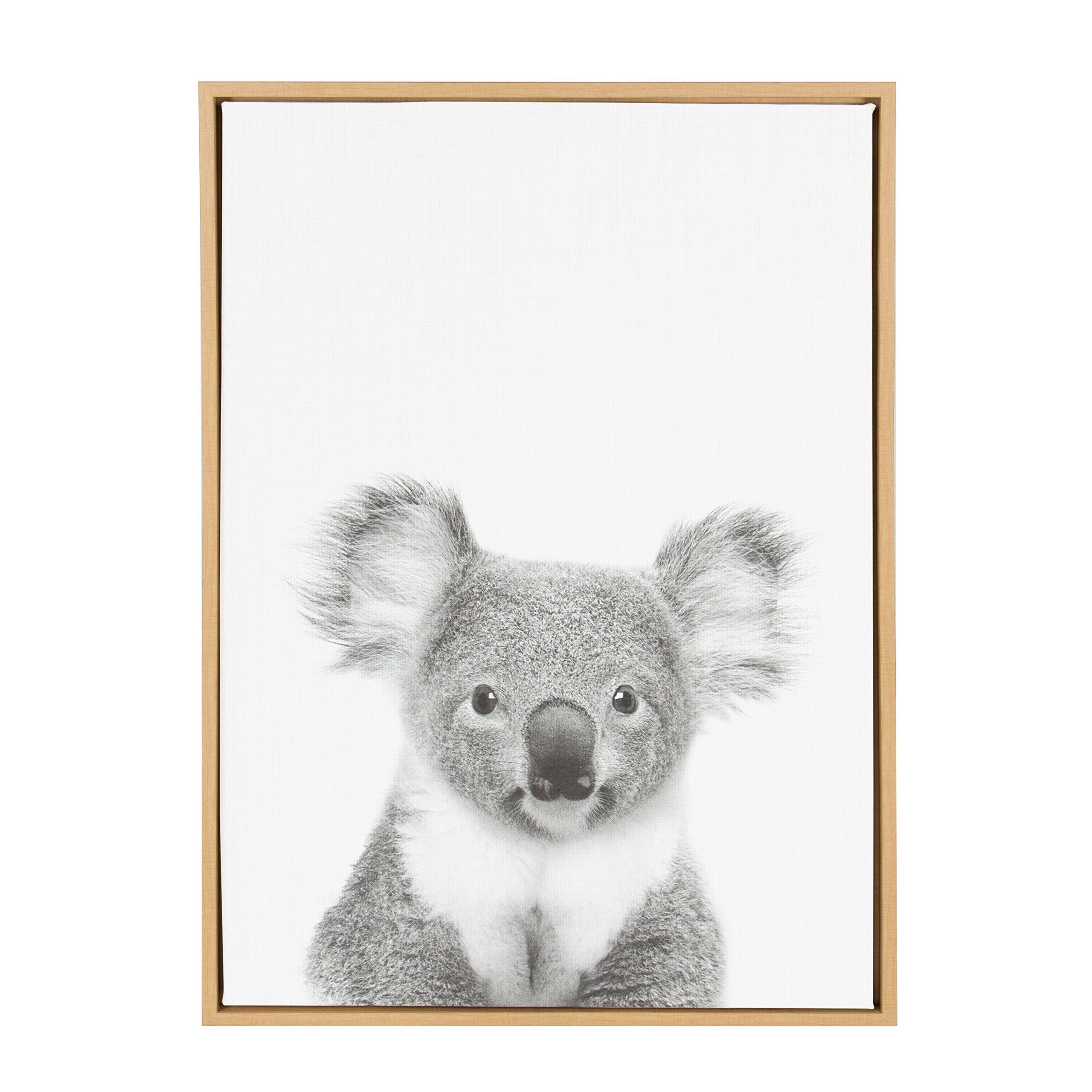 Kate and Laurel - Sylvie Koala Animal Print Black and White Framed Canvas Wall Art by Simon Te Tai, Natural 23x33