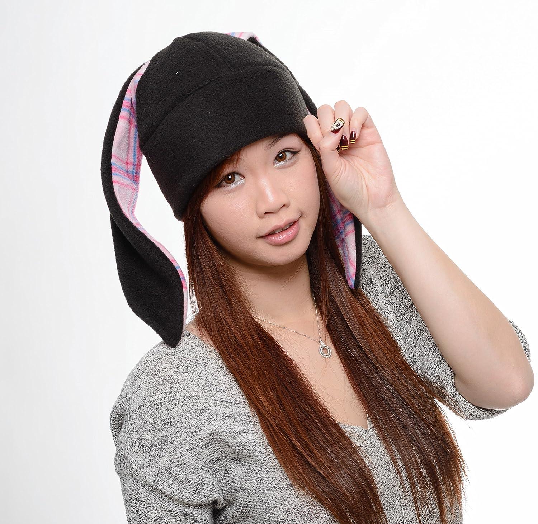 a620d4582 Amazon.com: Black bunny plaid Rabbit Ear Hat Toque Beanie Animal ...