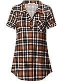 Youtalia Women's Summer Short Sleeve Plaid Blouses Button Down T Shirt Casual Tunics