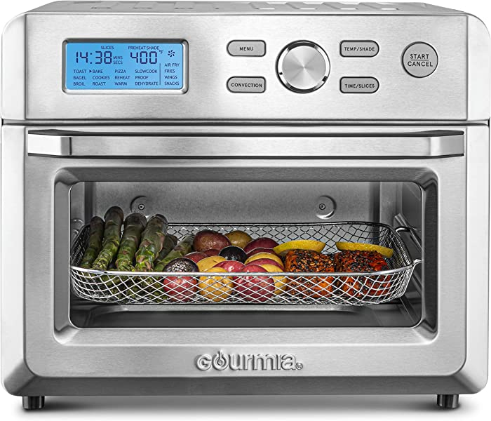 Gourmia GTF7600 16-in-1 Multi-function, Digital Stainless Steel Air Fryer Oven - 16 Cooking Presets + Convection Mode - Fry Basket, Oven Rack, Baking Pan & Crumb Tray - Includes Recipe Book